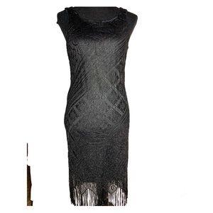 Harlow Black Fringe Flapper Dress